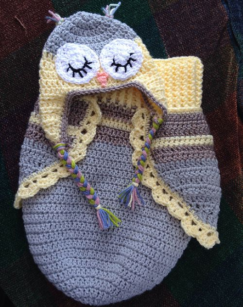 Crochet For Children: 3 Button Baby Owl Cocoon & Hat - Free Pattern                                                                                                                                                     More
