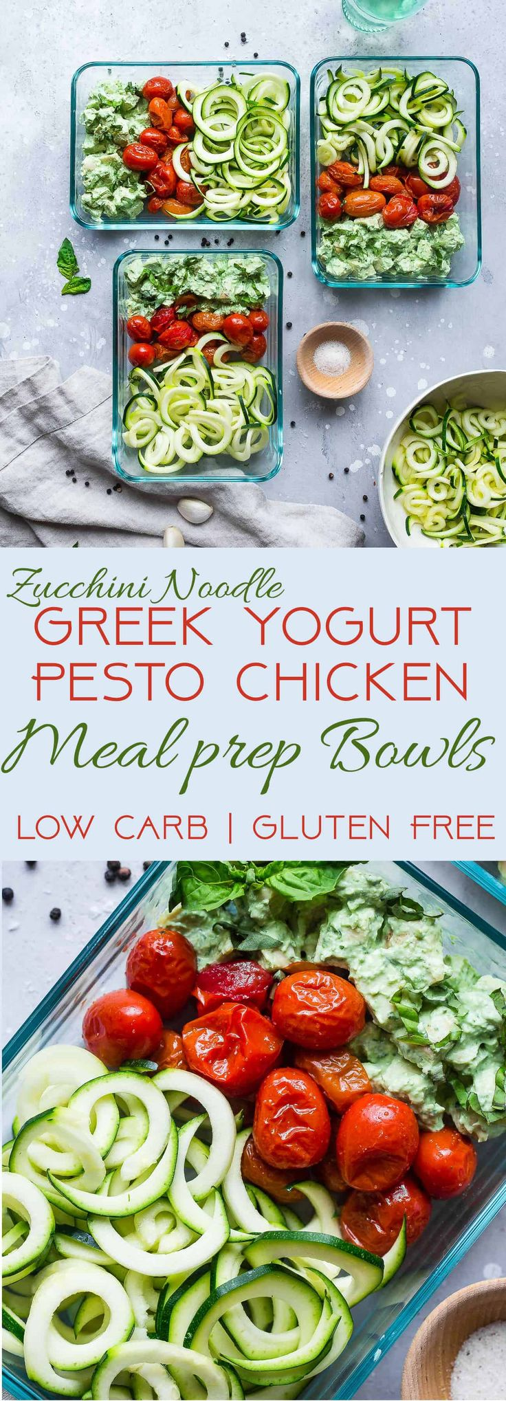 Creamy Basil Pesto Chicen Pasta Meal Prep Bowls - boneless skinless chicken breasts, olive oil (might reduce), pesto (plain non-fat Greek yogurt, fresh basil, fresh minced garlic, olive oil, sea salt, pepper), zucchinis, sea salt, cherry tomatoes