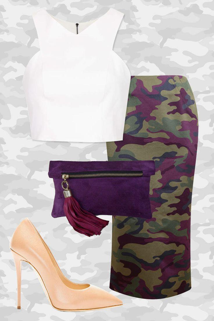 Tzipporah Brushed Silk Camouflage Pencil Skirt Giuseppe Zanotti Nude Beige Leather Yvette Pumps Topshop V Neck Cutaway Crop Top Boticca Mini Suede Clutch in Purple