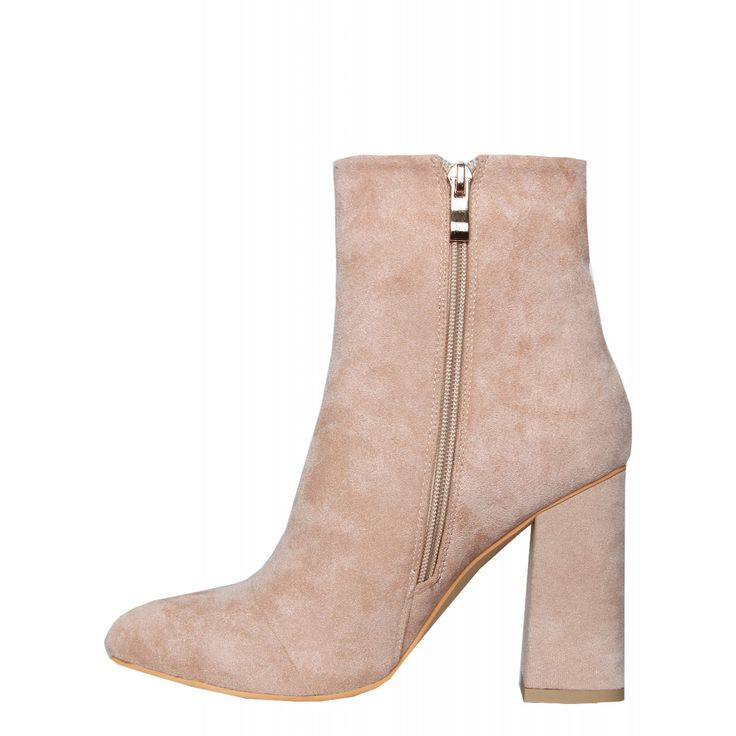 Sadie Beige Suede Block Heel Ankle Boots : Simmi Shoes