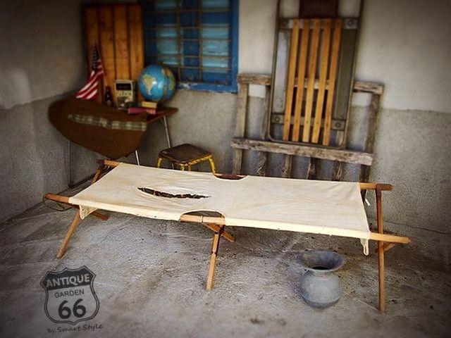 Sale Usアーミー ヴィンテージミリタリーコット 木製折りたたみ