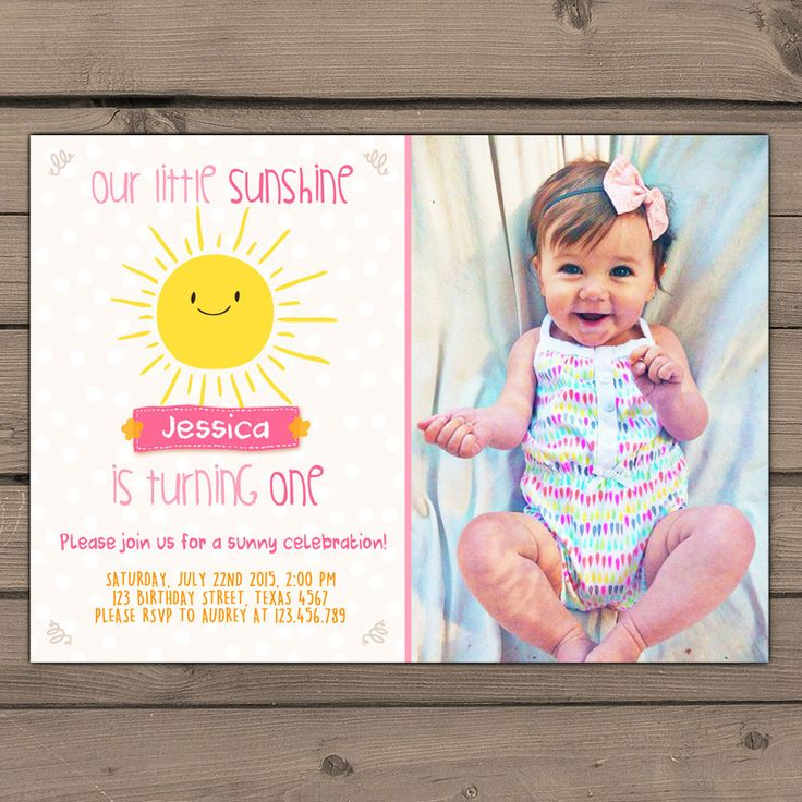 Little Sunshine Birthday invitation Sunshine Summer First Birthday Party Invite You are my Sunshine Pink lemonade Digital printable ANY AGE by Anietillustration on Etsy https://www.etsy.com/listing/234721503/little-sunshine-birthday-invitation
