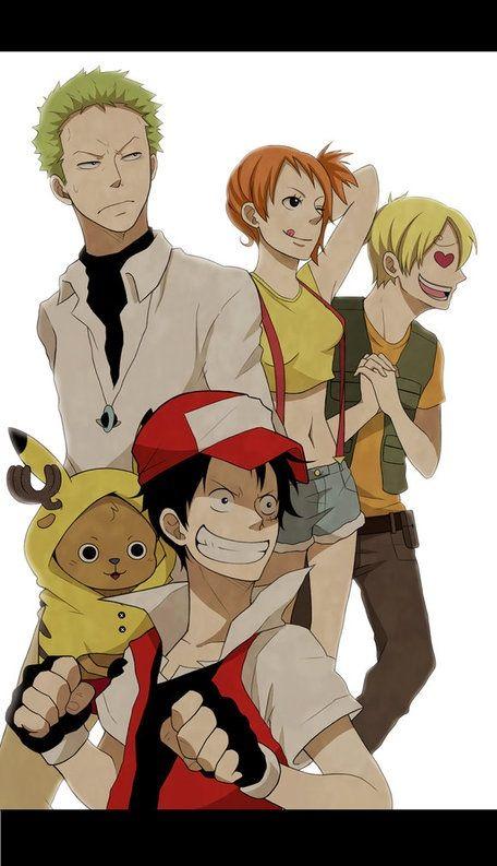 One Piece/Pokemon, [Luffy/Ash, Chopper/Pikachu, Zoro/Gary, Nami/Misty, and Sanji/Brock]