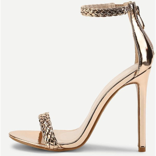 SheIn(sheinside) Woven Strappy PU Stiletto Heels ($34) ❤ liked on Polyvore featuring shoes, pumps, gold, heels stilettos, strappy stilettos, high heel stilettos, strappy high heel shoes and high heel shoes #goldstilettoheels #strappystilettoheels