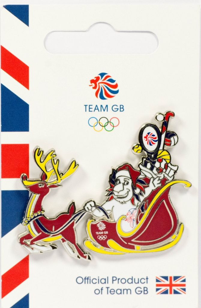 Official Team GB Pride Mascot Christmas Sleigh Pin