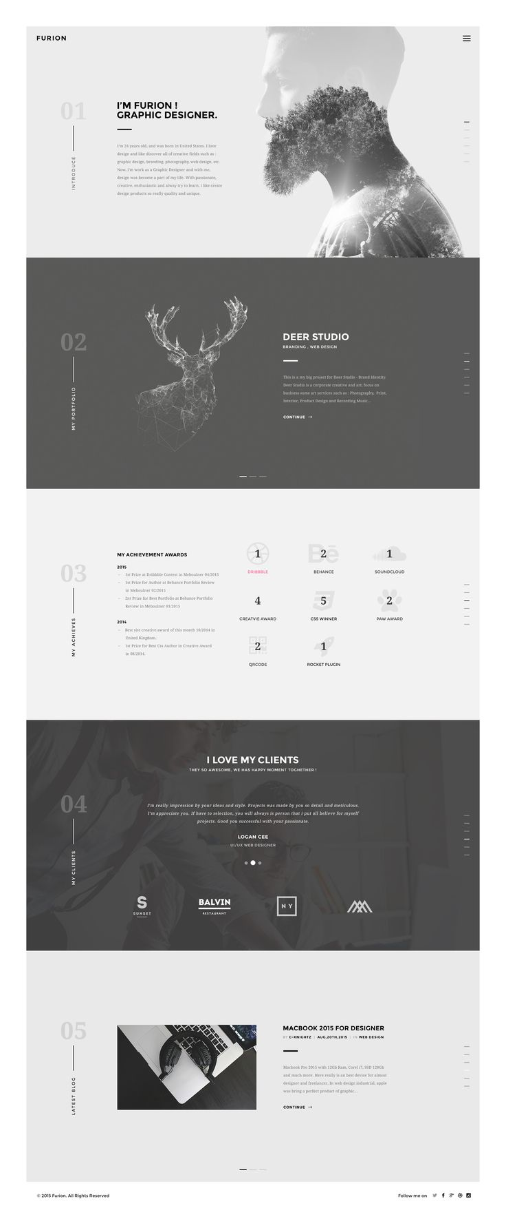 Furion Homepage with awesome double exposure portrait - by C-Knightz Art on Dribbble  Minimalist, yet still conveys meaning efficiently. Grey scale is not boring in this instance due to use of graphics and is suitable for the colour blind.