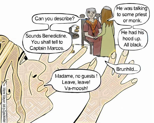 Audience with the Queen (Mayor graphic novel, s1, p61) #alandalus, #graphicnovel, #historicaldrama, #Spain, #Toledo, #astrology, #fantasy, #occult, #MayorGN, #Mayors1p61 #chicklit #patterns