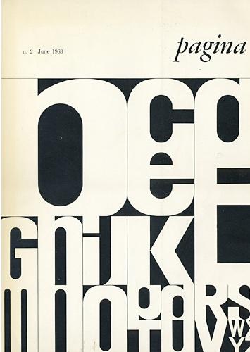 """Pagina' n. 2, June 1963 cover design by Dutch-born graphic designer Bob Noorda (1927-2010)"