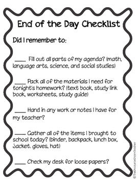 End of the Day Checklist for your students who need help with organization!