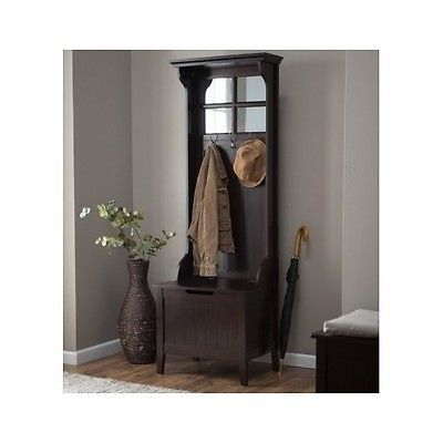 Details About Wooden Hall Tree Coat Rack Hat Storage Stand