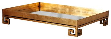 Marcus Hollywood Regency Gold Mirror Greek Serving Tray transitional-serveware
