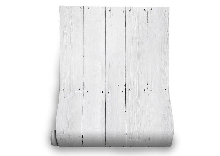 Papier-peint trompe l'oeil représentant des planches de bois peintes en blanc…