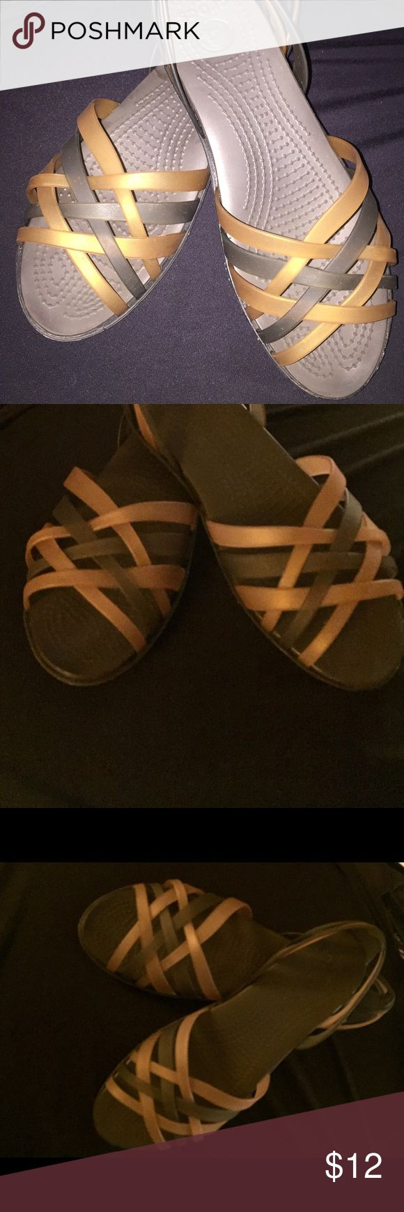 Crocs Women's Huarache Flat - Bronze/Espresso Adorable, light and easy to wash. Flexible yet stable- crocslite sole - extremely supportive of arch. Worn only a few times - front left shoe has residue from glue that I don't have time to remove - otherwise excellent condition. CROCS Shoes Sandals