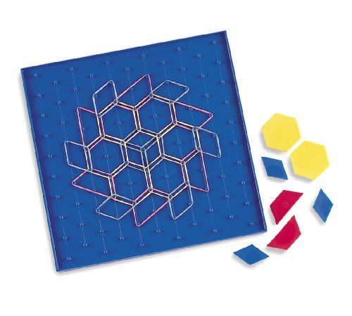 Learning Resources LER1512 Two-Sided Pattern Array Block Geoboard
