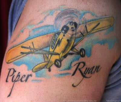 Piper J-3 Cub Airplane Tattoo but not that cartoonish. A picture of grandpa Harolds plane though
