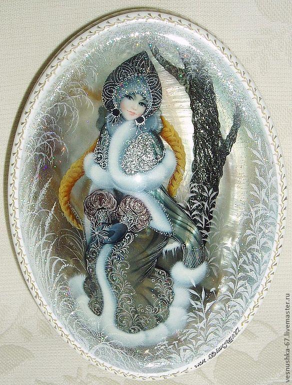 Купить Снегурочка - лаковая миниатюра, натуральный перламутр, натуральный жемчуг, белый, шкатулка, океаническая раковина
