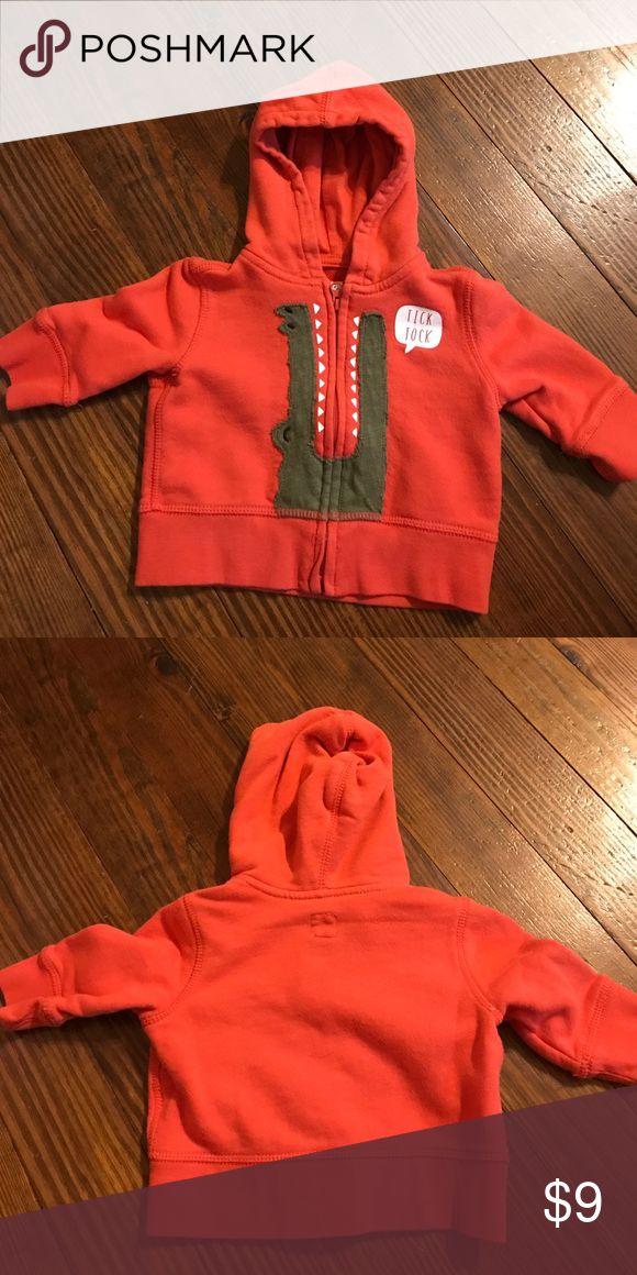 Baby Gap Zip up Hoodie VEUC. Orange zip up hoodie with alligator from Baby Gap. GAP Jackets & Coats