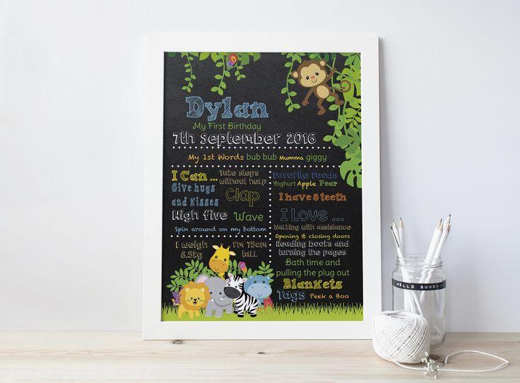 Milestone Sign, Birthday Poster, Safari Birthday, Jungle Birthday, Milestone Board, First Birthday Board, Chalkboard Poster, Jungle Birthday