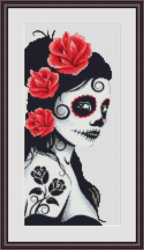 Day of the Dead Princess Bride Counted Cross Stitch Pattern Download Cross Stitch Chart Instant Download by InstantCrossStitch on Etsy https://www.etsy.com/listing/215002508/day-of-the-dead-princess-bride-counted