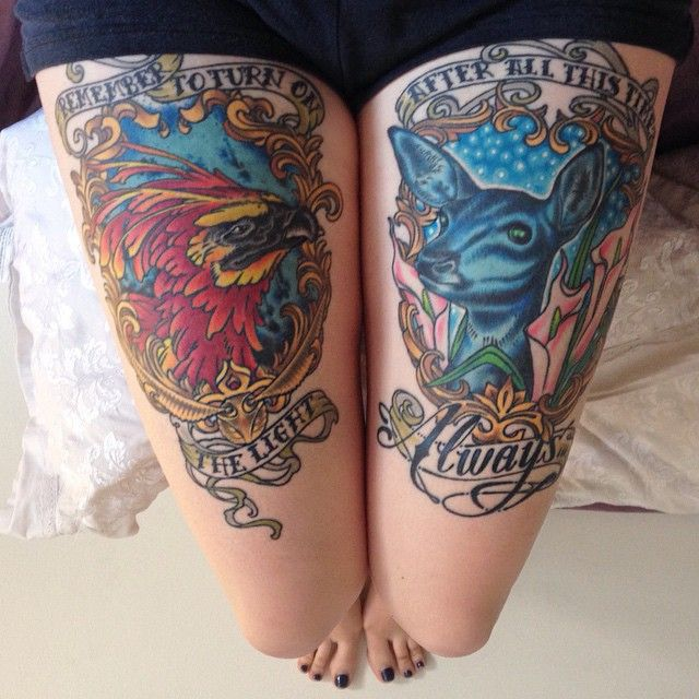 Been meaning to share a picture of these now that they are both just about healed. I love them more than Ron Weasley loves the Chudley Cannons. As always, @oldmanwagner does it again. Thank you sir! (Note: My Snape/Lily Patronus has green eyes. )