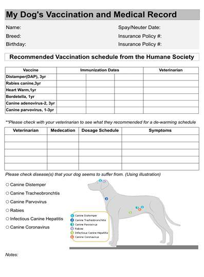 Vaccination Pet Printables