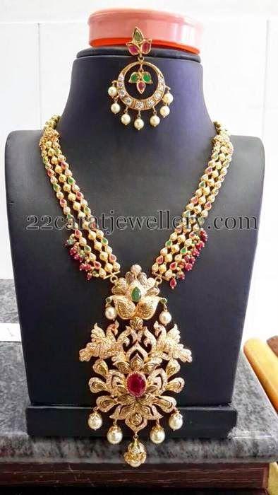 Jewellery Designs: Peacock Floral Medium Size Necklace