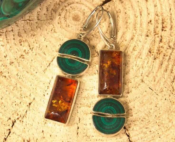 Malachite Amber Earrings, Sterling Silver