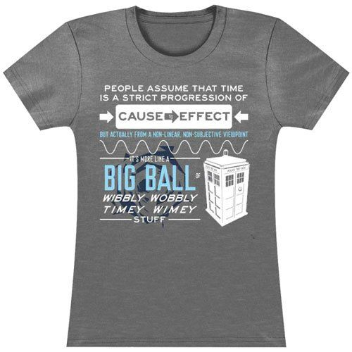 Doctor Who Wibbly Wobbly Quote Junior Gray Heather T-shirt