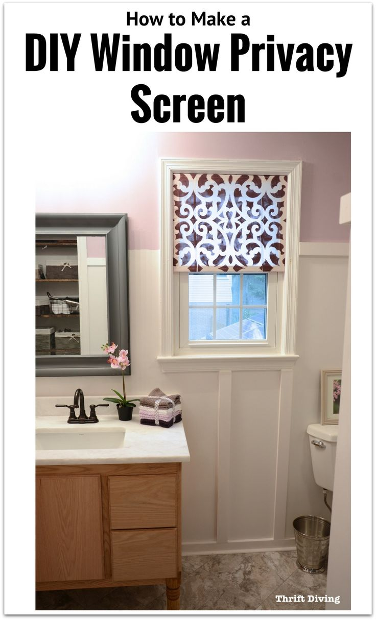 How to make a DIY window privacy screen with just a few pieces of wood, fabric, and glue! Easily adjustable, lets light in, and can be made for only a few dollars. See the full tutorial.