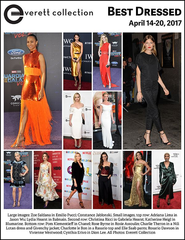 Large images: Zoe Saldana in Emilio Pucci; Constance Jablonski. Small images, top row: Adriana Lima in Jason Wu; Lydia Hearst in Balmain. Second row: Christina Ricci in Gabriela Hearst; Katherine Heigl in Blumarine. Bottom row: Pom Klementieff in Chanel; Rose Byrne in Rosie Assoulin; Charlie Theron in a Nili Lotan dress and Givenchy jacket; Charlotte le Bon in a Rasario top and Elie Saab pants; Rosario Dawson in Vivienne Westwood; Cynthia Erivo in Dion Lee. All Photos: Everett Collection