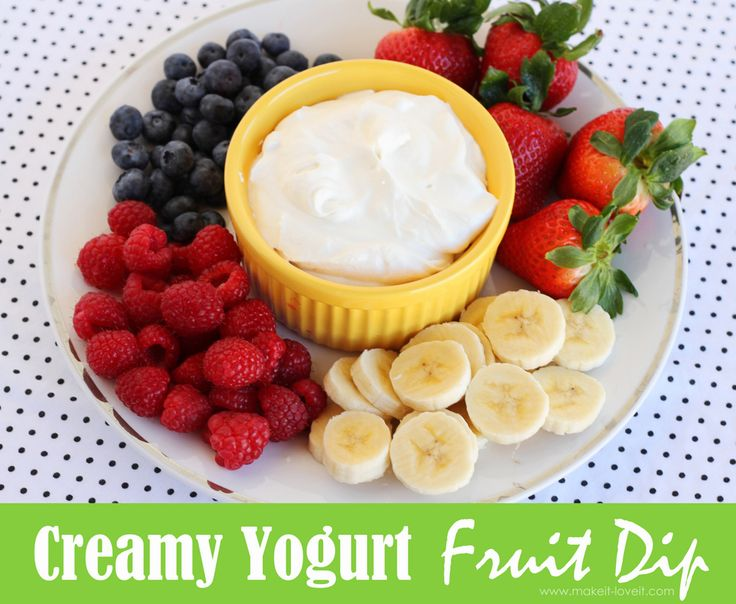 Creamy Yogurt Fruit Dip: a great side or appetizer.  So very creamy, delicious, and EASY! www.makeit-loveit.com