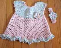 Crochet Baby Dress, Little Sweetie baby dress, cotton baby dress, 3 to 6mo baby dress, Light weight cotton blend baby dress with ruffle