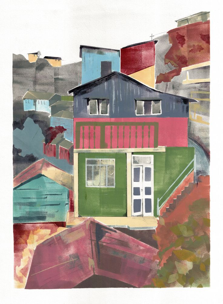The houses are painted in bright colours in Darjeeling, India. Limited Edition Print, run of 10.Size: 42 x 59.4 cm (A2 with 2 cm white border)
