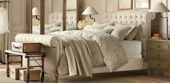 Chesterfield Linen Fabric Sleigh Bed