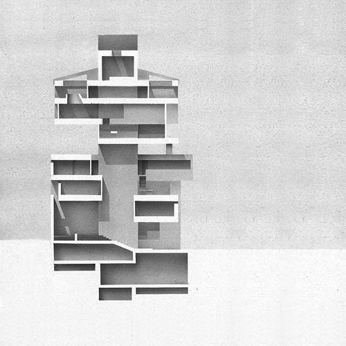 Kuwaiti Embassy in Tokyo by Kenzo Tange in 1970  Sectional drawing, Acrylic on…