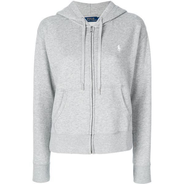 Polo Ralph Lauren zip up hoodie ($190) ❤ liked on Polyvore featuring tops, hoodies, grey, hooded zip up sweatshirt, gray top, hooded pullover, grey hoodie and hooded sweatshirt