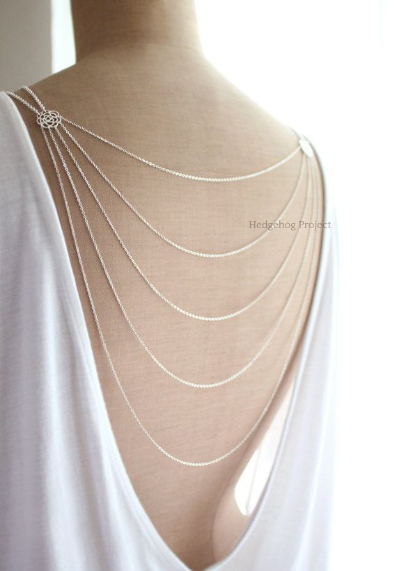 romance - Art Deco Glam, Multistrand Back Necklace, Backdrop Necklace, Silver Gold Back Drop Necklace, Wedding Jewelry, Bridal Accessory