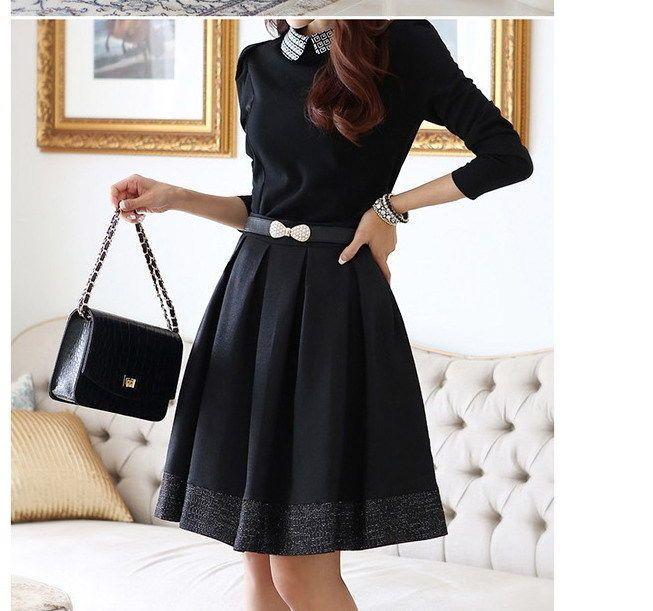 Women Hitz Doll Collar Long Sleeved Dress(China (Mainland))