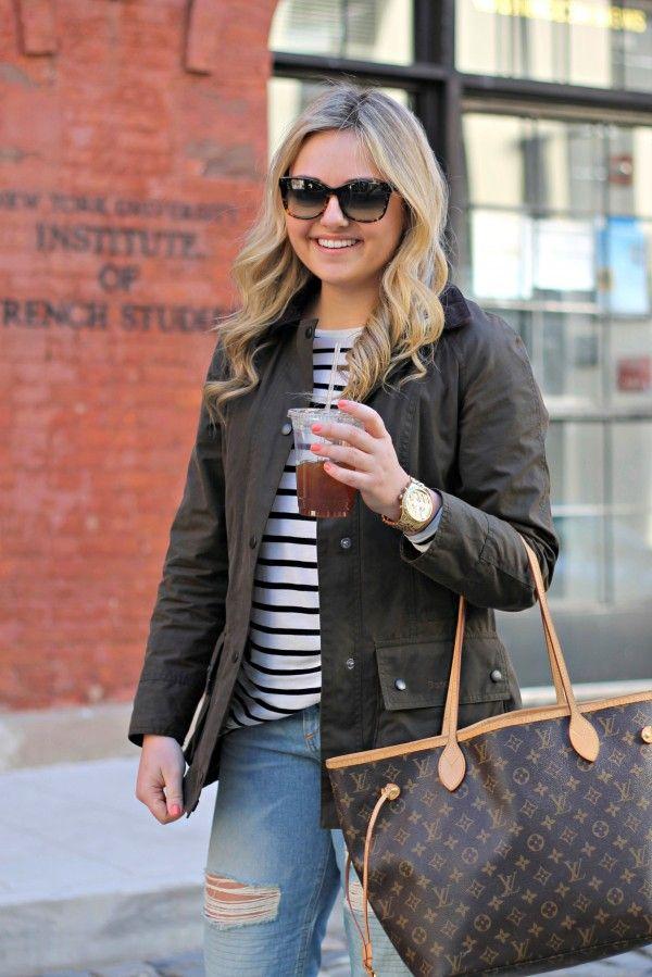 barbour jacket, striped tee, boyfriend jeans, louis vuitton neverfull