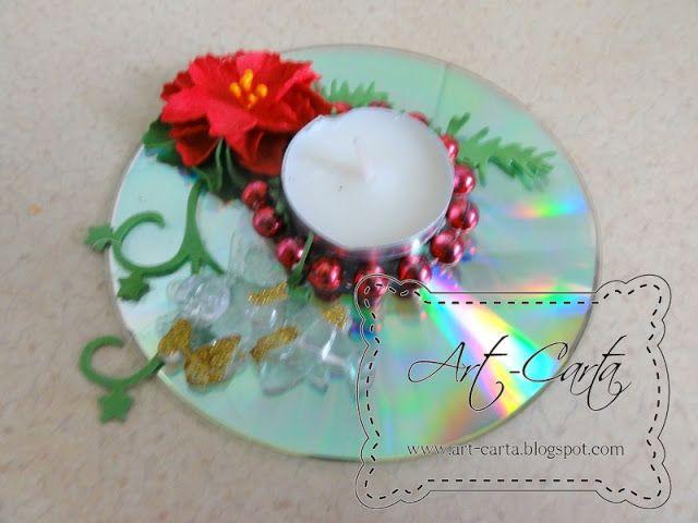 Art-Carta : Świąteczny świecznik na płycie CD (8)