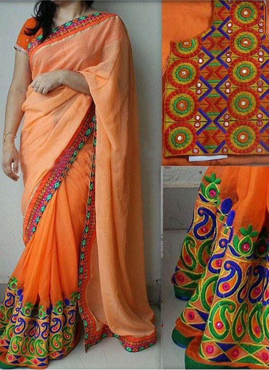Orange Georgette Thread & Mirror Work Saree With Blouse