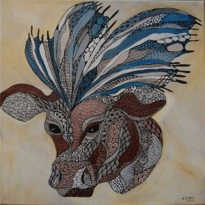 Cow-butterfly Anna Strøm 2016. Original painting , size 50 cm X 50 cm canvas, acrylic, black ink 300 EURO http://www.design-of-norway.no/
