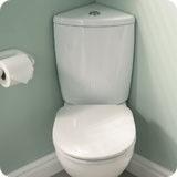 Corner toilet for small bathrooms.
