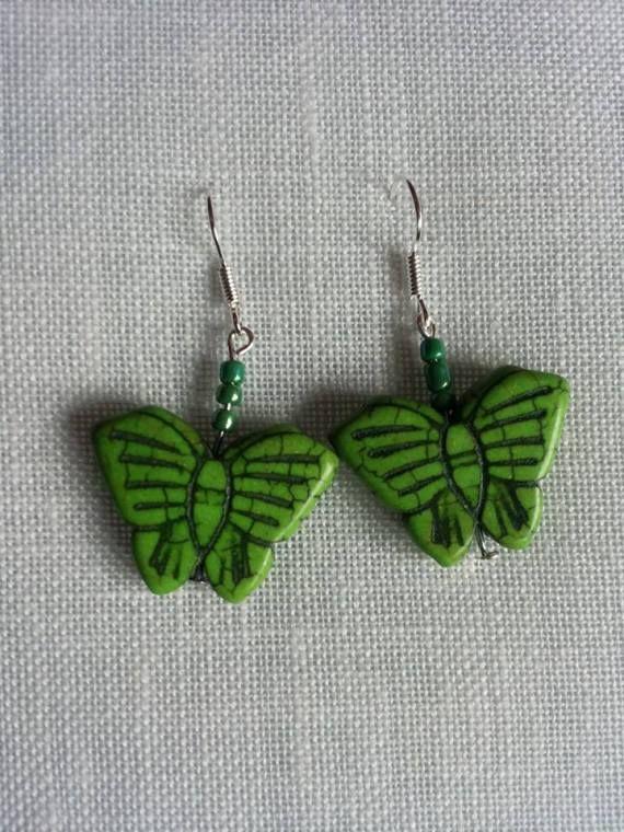 mariposa verde, Bisutería, Pendientes