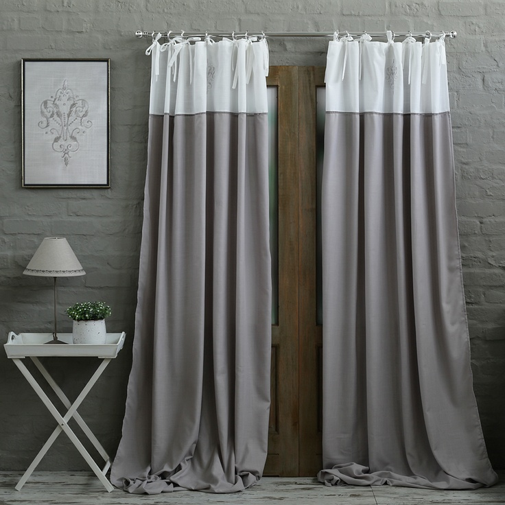 Grey White Embroidery Eyelet Curtain Biggie Best Home