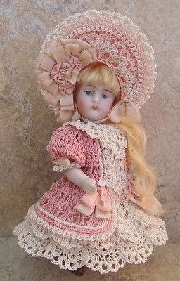 """5"""" all bisque doll crocheted dress set by Tina Porn"""