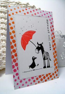 Jippie...vandaag een nieuwe, hele leuke en vrolijke challenge bij CAS on Sunday !! Umbrella's vrolijk?? Jawel, zeker wel met de stempels ...