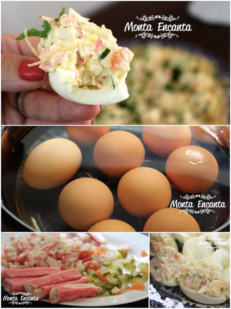 Ovos cozidos, só que no lugar da gema simples  um creme bem saboroso. Ovos cozidos recheados,   'huevos hellenos'. Além da gema cozida e levemente amassada e dos temperos, nossos ovos cozidos   levam  kani e picles picadinhos com maionese light.