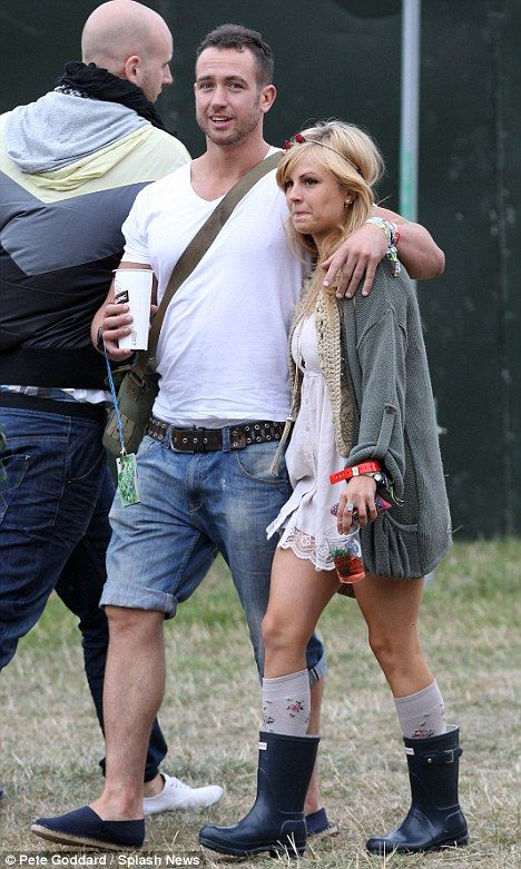 Tina O'Brien and boyfriend Adam Crofts were spotted backstage at V Festival at Weston Park yesterday