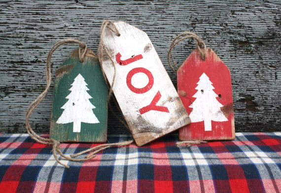 Joy Christmas Tree Distressed Rustic Wood Log Cabin Lodge Wreath decoration decor Sign by TheUnpolishedBarn